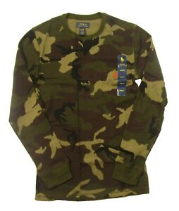 Polo Ralph Lauren Men's Green Camo Waffle Knit Thermal Crew-Neck T-Shirt