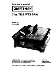 Craftsman 118.22320 Tile Wet Saw Owners Instruction Manual