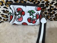 Isabelle Fiore Leather Wristlet Bag, Purse, White with Red Cherry Faux Leather