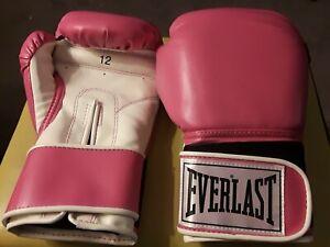 Everlast Elite Leather Training Boxing Gloves Size 12 Ounces, Pink