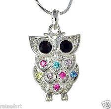 "Wise Wisdom Smart Owl Multi Color W Swarovski Crystal Pendant Necklace 18"" chain"
