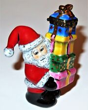 Limoges France Box - Christmas - Rmc - Santa Claus With A Stack Of Presents - Le