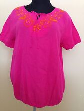 Size 18/20 New Lane Bryant Plus Pink Orange Embroidery Cotton Blouse Shirt A2
