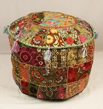 Green Pouf Cover Indian Handmade Bohemian Ottoman Stool Floor Chair Pouffe Cover