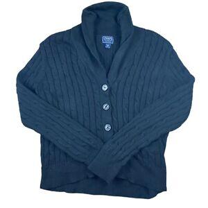 Ralph Lauren Chaps Women's XL Cardigan Black Button Up Y2K Sweatshirt Pockets