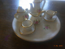 Miniature/doll's house 8 piece coffee service with tray - floral decoration