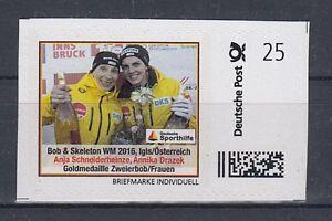 D. Briefmarke Individuell    Goldmedaille Zweier Bob   **