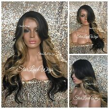 Long Brown Honey Blonde Full Wig Loose Wavy Bangs Layers Heat Safe Ok