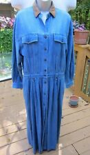 Eddie Bauer Womens Dress Denim Jean Long Sleeve Maxi Dress~Leather Collar Sz LG
