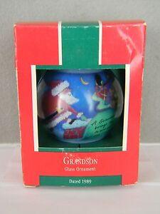GRANDSON - Glass Ornament - HALLMARK KEEPSAKE ORNAMENT - Dated 1989
