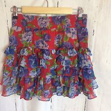 Abercrombie And Fitch Women Floral Rufles Mini Skirt Sz Medium Multicolor