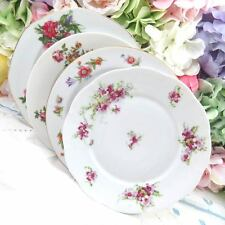 "Set of 4 Vtg Mismatched Fine China 8"" Dessert Cake Salad Plates Pink Floral SP56"
