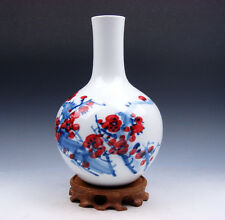 "8"" Blue&White Ox-Blood Red Plum Blossoms *Sky-Ball* Porcelain Vase w/ FREE STAND"