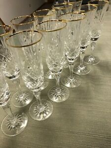 Crystal Champagne Flutes w/ Gold Rims, Quantity 11