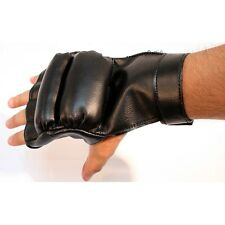 HEAVY DUTY FINGER LESS BLACK BOXING TRAINING PADDED GLOVES Work Out Exercis