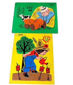 Vintage Playskool Wooden Puzzles Little Boy Blue Fun Plant Garden Toy Preschool