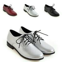 New Womens Lace up Round Toe Flats Patent Leather Wear Work Pumps Shoes Casual
