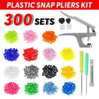 300Pcs Sets KAM Snap Buttons Poppers T5 Plastic Fasteners Plies Press Stud Tool