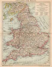 B6190 England - Wales - Carta geografica antica del 1901 - Old map