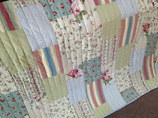 Shabby Chic Cotton Floral Spring Morning  Quilted Patchwork Cotton Throw Rug