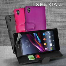 3 Colour Side Wallet Leather Case Cover for Sony Xperia Z1 Z 1 L39H + Screen Gd