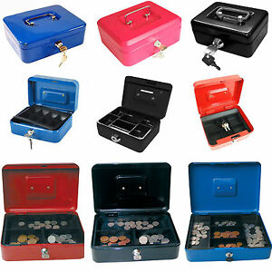 Small Large Petty Cash Money Box Safe Tin with Key Lockable 4 6 8 10 12 Inch