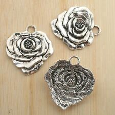 4pcs antiqued silver big flower design pendant G1111