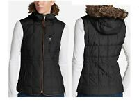 NEW Eddie Bauer Womens 16 Yukon Classic Down Vest Faux Fur Hood Retail $199