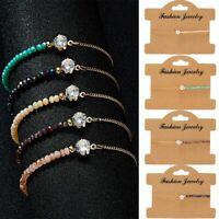 Fashion Women Crystal Natural Stone Moonstone Gemstone Bracelet Beaded Bangle