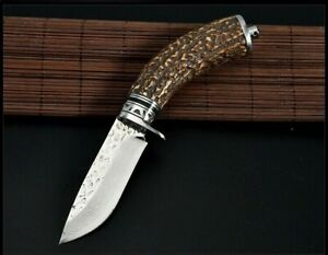Handmade Drop Point Knife Hunting Tactical Forged Damascus Steel Antler Handle S