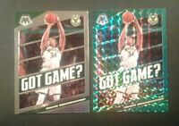 GIANNIS LOT 2019-20 Panini Mosaic Prizm Green Got Game Insert #25 with Base Card