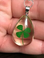 "Lucky 4 Leaf Clover in Teardrop Resin Small Charm Tibetan Silver 18"" Necklace N3"
