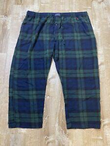 Polo Ralph Lauren blue Green Plaid Pajama Pants cotton Flannel Size 3XL EUC