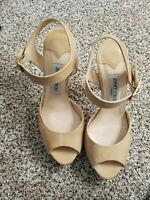 Jimmy Choo Sandals Beige Cream Stiletto Nude Open Toe Patent Leather 38.5