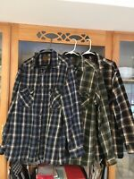3) St.Johns Bay Thick flannel Plaid pockets rugged Work Shirts Size XL