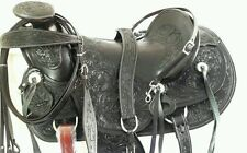 """new 17""""western tack cowboy rodeo wade leather horse saddle headstall breastplate"""