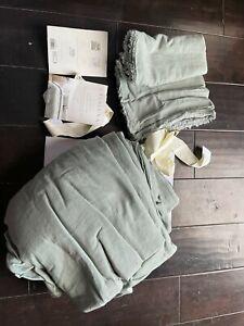 Casaluna- Heavyweight Linen Blend Duvet & Pillow Sham Set, King, Sage Green