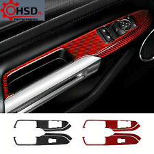 Carbon Fiber Modification Window Switch Control Panel For Ford Mustang 2015 - 19