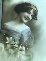 RPPC Tinted Antique Postcard Lady Orange Ribbon Holding Flowers