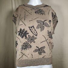 Vintage Fall Leaf Knit Sweater Vest Medium