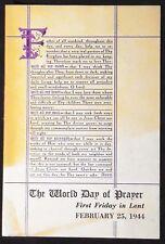The World Day of Prayer Program, First Friday in Lent, February 25, 1944 VG