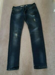 "Blue ripped jeans Topshop Moto Baxter UK10 W28"" L32"" pockets 8"" rise"