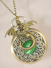 DRAGON Game Of Thrones Inspired Bronze Pocket Watch Necklace - Dragons Eye !