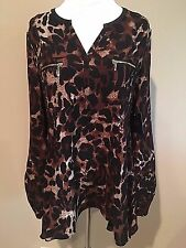 NWT Womens Leopard Print Brown Black Long Sleeve Rafaella Tunic Dress Top Medium