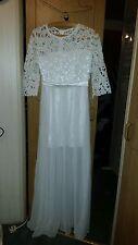 VINTAGE ? WEDDING / BRIDESMAID DRESS SHENYU WHITE FLARY CROCHET TOP/SLEEVES 32CH