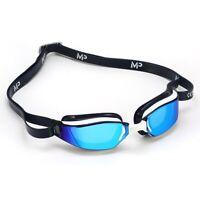 MP Michael Phelps XCEED Swimming Goggles White, BLUE Titanium Mirror RACING GOGG