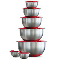 Tramontina 14-Piece Covered Stainless-Steel Mixing Bowl Set Assorted Colors Set