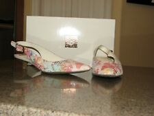 NIB Anne Klein AK Expert Leather Kitten Heel Pink Multi Snake Slingbacks size 6