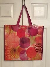 TJ MAXX Shopping Gift Bag Reusable Tote Eco Friendly Pink Green Geometric NWT