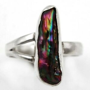 Titanium Pearl 925 Solid Genuine Sterling Silver Ring Jewelry Sz 8 K3-6